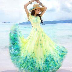 bc9018c44cd06 2014 nouvelle robe d été jaune en mousseline de soie d une seule pièce robe  bohème robe de plage robe longue , Plus la taille s xxl 823 dans Robes de  Femmes ...