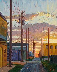 """Sunrise Alley"" by René Wiley-  Oil on Canvas 16 x 20"