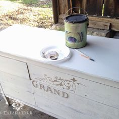 Warm Silver Metallic Paint to draw in French lettering transfer on dresser drawers | Artistry by Tweak & Style