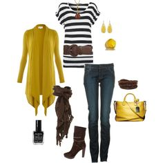 Pop of yellow outfit Passion For Fashion, Love Fashion, Fashion Outfits, Mode Style, Style Me, Simple Style, Dressing, Mellow Yellow, Mustard Yellow