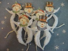 Primitive Snow Couple Ornaments Vintage Style Chenille Feather Tree Winter new