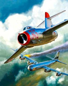A North Korean, Soviet-made MiG15 attacks an American B-29 over North Korea.  We discovered that many MiGs were flown by Soviet pilots.