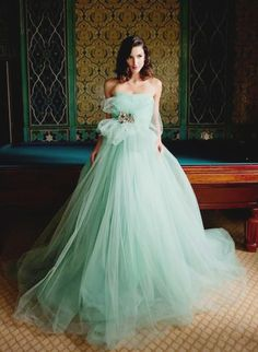 Karen Caldwell Soft green  wedding dress www.finditforweddings.com Haute Couture