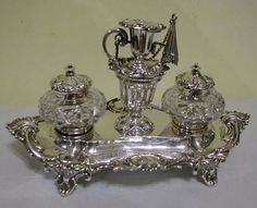 Calamaio antico in argento inglese punzoni e cristalli originali collezione Riva gioielli argenti antichi specifiche sul sito web www.rivagioielli.it