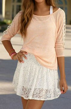 Blush Sweater + Lace Dress