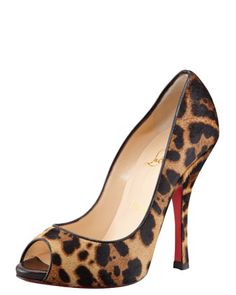 Maryl Leopard-Print Calf Hair Peep-Toe Red Sole Pump by Christian Louboutin at Bergdorf Goodman.
