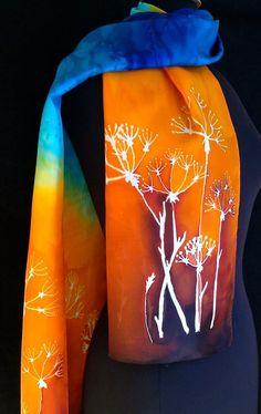 pañuelo de seda vibrante en tonos marrones por FantasticPheasant, $ 35.00: