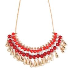 Wood Beads and Metal Teardrops Statement Necklace