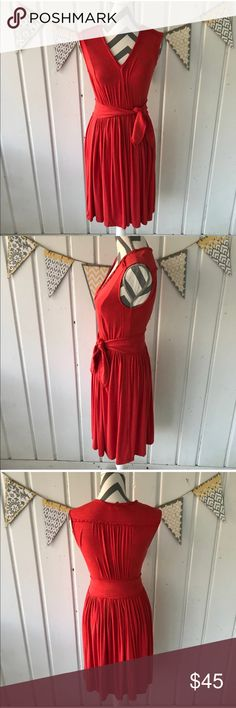 """Anthropologie Plenty by Tracy Reese Aven Dress This is a luxuriously soft dress from Plenty by Tracy Reese for Anthropologie. It is an orange red color, and it is in excellent used condition. This dress features 2 side pockets and a tie at the waist. It is approximately 39"""" long. Anthropologie Dresses"""