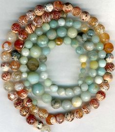 Amazonite & Orange Fire Agate Faceted Beads ~Soft Blue/Green 6-10mm 2…