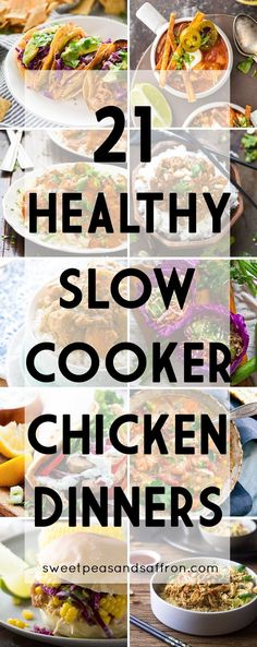 Healthy slow cooker chicken recipes prove that comfort food can be both healthy and easy to prepare! Sharing slow cooker recipes that use chicken breast and chicken thighs, plus tips for cooking your chicken in the crock pot. #slowcooker #crockpot #chicken #chickenbreast #chickenthighs #dinner #recipe
