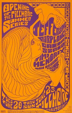 Jefferson Airplane And Jimi Hendrix Original Concert Poster Vintage Rock Poster Fillmore Auditorium Rock Posters, Hippie Posters, Band Posters, Psychedelic Rock, Psychedelic Typography, Psychedelic Posters, Psychedelic Tattoos, Vintage Concert Posters, Posters Vintage