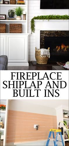 Adding Shiplap to Built Ins around your family room fireplace. Easy DIY tutorial for adding white shiplap with your built in bookcases. Built In Around Fireplace, Fireplace Built Ins, Shiplap Fireplace, Farmhouse Fireplace, Fireplace Mantels, Fireplace Update, Fixer Upper Style, Family Room Fireplace, Sweet Home