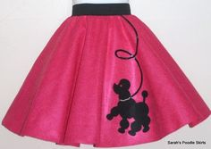 A poodle skirt is a wide swing felt skirt of a solid bright bold color displaying a design transferred to the fabric. Later substitutes for the poodle patch included flamingos, flowers, and hot rod cars. Hemlines were to the knee or just below it.The skirt originated in the 1950s in the United States. quickly became very popular with teenage girls, who wore them at sock hops and as everyday wear. The skirt was easy and fun for people to make at home.