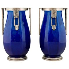 French Art Deco Ceramic and Silvered Bronze Vases by Paul Milet for Sevres, 1925 | From a unique collection of antique and modern vases and vessels at https://www.1stdibs.com/furniture/decorative-objects/vases-vessels/