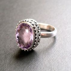 pink amethyst ring with diamonds