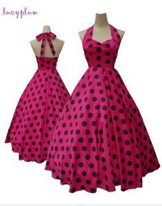 Magenta Polka dot pin up dress.Too cute I love it
