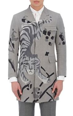 THOM BROWNE Tiger-Pattern Jacquard Topcoat. #thombrowne #cloth #topcoat