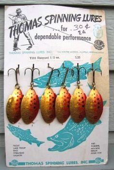 Not a bad spoon lure with a single treble hook. Trout Fishing Lures, Best Fishing Lures, Vintage Fishing Lures, Bass Fishing Tips, Gone Fishing, Fishing Shack, Fishing Tricks, Fishing Bait, Fishing Tackle