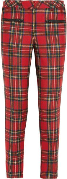 Karl Lagerfeld Macpherson Tartan Wool and Faux Leather Pants - Lyst