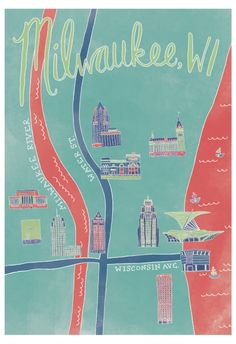 Downtown Milwaukee Map Art Print by stephaniemariesteinhauer Milwaukee Map, Milwaukee Restaurants, Graphic Prints, Graphic Design, Boy Girl Room, River I, Room Posters, Map Art, Wall Prints