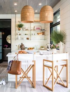 sunset mag- Newport pool house, small white kitchen