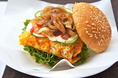 Malaysian Style Hamburger - Really, the idea of a hamburger wrapped in egg and topped with fried onion sounds fantastic!  Of course I could skip the bread!