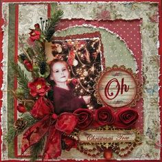 Beautiful Christmas Scrapbooking Page...reds & greens.