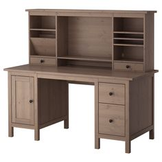 HEMNES Desk with add-on unit - gray-brown - IKEA