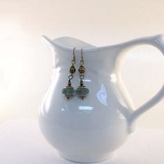 Blue Frosted Earrings Antique Brass Dangle by CinLynnBoutique, $18.00