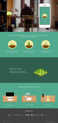 Clean One Pager for productivity app 'Forest'. A pity it's not responsive but the landing page couldn't be any clearer - love the illustrations.