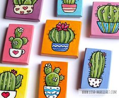 Small Canvas Paintings, Small Canvas Art, Mini Canvas Art, Mini Paintings, Cactus Painting, Cactus Art, Diy Painting, Acrylic Art, Acrylic Painting Canvas