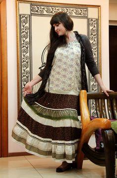 """Купить Юбка длинная ярусная """"Индийские специи"""" - коричневый, в полоску, юбка…"""