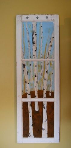 Old window frame from the inside out