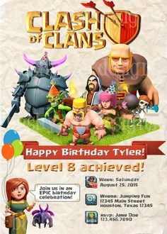 Clash of Clans Birthday Invitations by BushyTailDesigns on Etsy https://www.etsy.com/listing/233085040/clash-of-clans-birthday-invitations