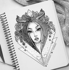 @Saphiriart on instagram - custom geometric girl portrait tattoo design with flowers and roses
