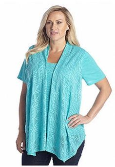 Kim Rogers Plus Size 2X by Belk Pointelle 2-For Cozy Top Broad Obelisk Aqua NWT #KimRogers #Blouse #Casual