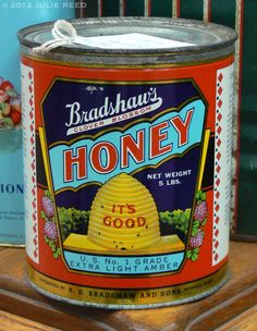 Love the bright colors on this vintage honey tin!