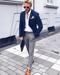 Mens fashion smart in 2019 fashion, mens fashion:cat, mens suits. Blazer Outfits Men, Mens Fashion Blazer, Suit Fashion, Work Outfits, Blue Blazer Outfit Men, Formal Outfits, Navy Blazer Men, Grey Slacks, Navy Blazers