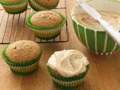Applesauce cupcakes with brown butter frosting... ONLY 50 calories a piece!