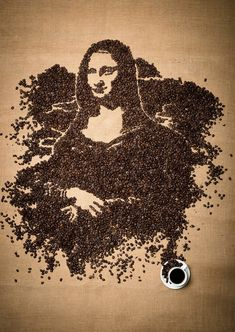 Mona Lisa made out of coffee bean art