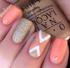Nails - 20 Coral Nail Art Designs To Draw Inspiration From Fancy Nails, Love Nails, Pretty Nails, My Nails, Prom Nails, Nail Designs 2017, Nail Art Designs, Coral Nail Designs, Coral Nails With Design
