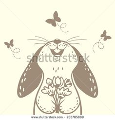 beautiful silhouette cute and funny cartoon bunny