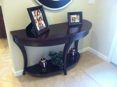 Half Circle Entry Table And Mirror Over (dark Brown Instead)
