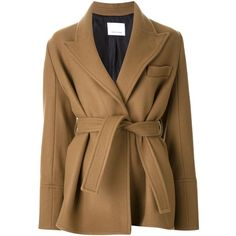 Scanlan Theodore Short Belted Coat (€665) ❤ liked on Polyvore featuring outerwear, coats, brown, belted coat, wool coat with belt, short coat, coat with belt and brown wool coat