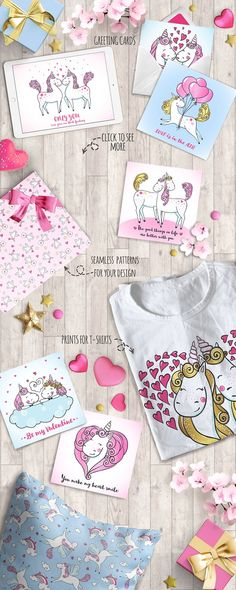 Romantic set with Cute Unicorns by romawka on @creativemarket