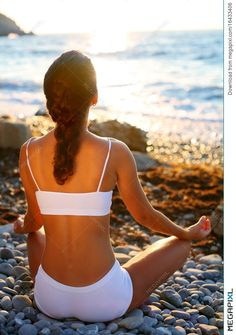 Meditation on the beach at sunset.