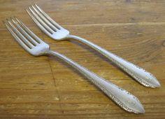 2 Dinner Forks Madelon R Monogram Silverplate Oneida Tudor Plate 1935 Community Gold Flatware, Dinner Fork, Forks, Tudor, Silver Plate, Monogram, Community, Plates, Tableware
