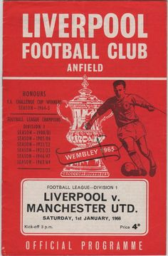 Vintage Football Programme - Liverpool v Manchester United, 1965/66 season, by DakotabooVintage, £2.99