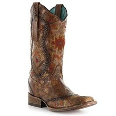 Corral Ladies Cognac Multicolor Ethnic Pattern Boot - Cognac Boots - Ideas of Cognac Boots - Corral Ladies Cognac Multicolor Ethnic Pattern Boot Price : Cheap Cowgirl Boots, Western Boots, Cowboy Boots, Country Boots, Western Wear, Boot Scootin Boogie, Westerns, Cognac Boots, Cowgirl Style